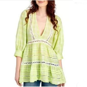 Free People Lime White Combo Lace Detail Blouse